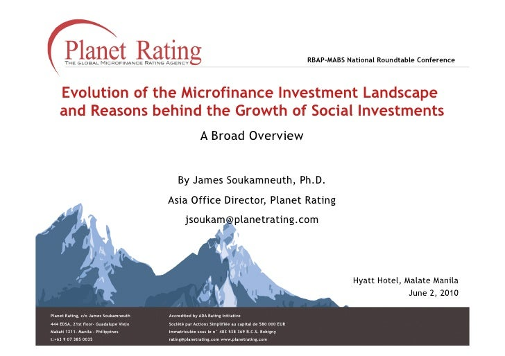 RBAP-MABS National Roundtable Conference        Evolution of the Microfinance Investment Landscape     and Reasons behind ...