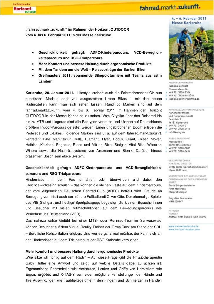 """""""fahrrad.markt.zukunft."""" im Rahmen der Horizont OUTDOORvom 4. bis 6. Februar 2011 in der Messe Karlsruhe   •   Geschicklic..."""
