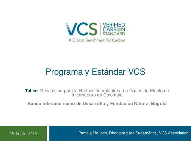 Programa y Estándar VCS Pamela Mellado, Directora para Sudamérica, VCS Association Taller: Mecanismo para la Reducción Vol...