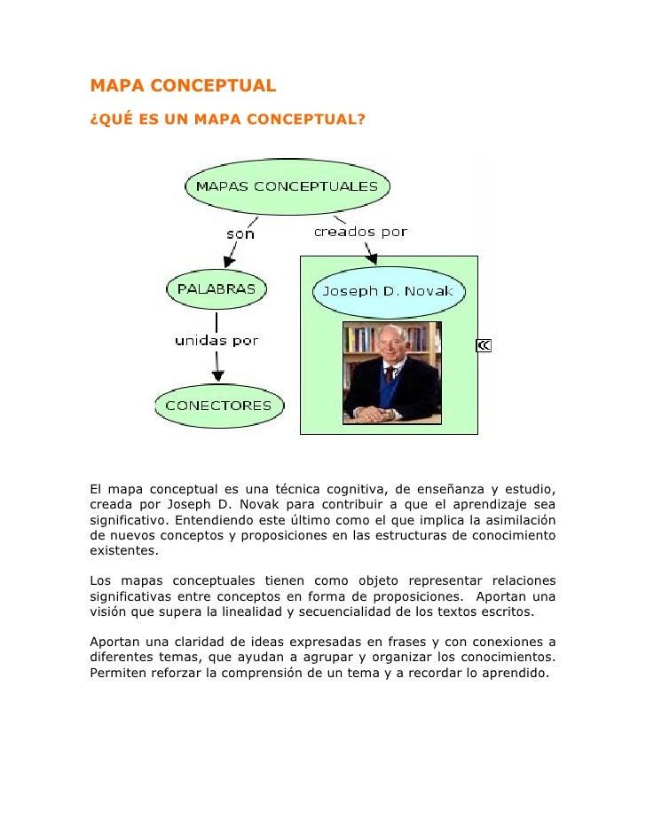 MAPA CONCEPTUAL¿QUÉ ES UN MAPA CONCEPTUAL?El mapa conceptual es una técnica cognitiva, de enseñanza y estudio,creada por J...