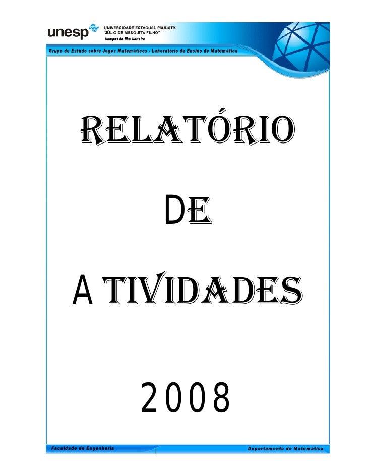 Relatório de Atividades 2008