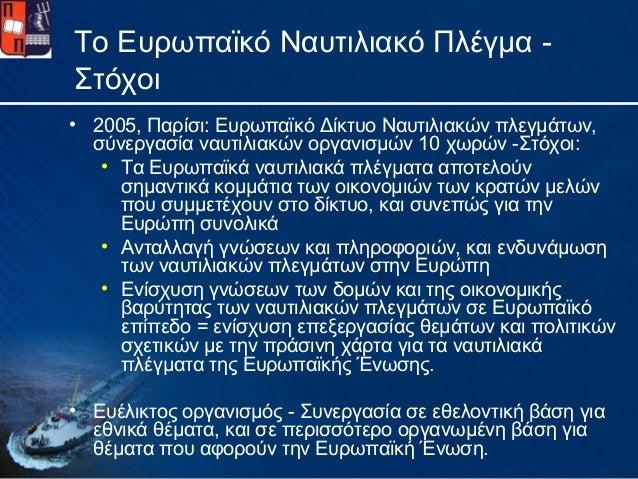 Το Ευρωπαϊκό Ναυτιλιακό Πλέγμα -Στόχοι• 2005, Παρίσι: Ευρωπαϊκό Δίκτυο Ναυτιλιακών πλεγμάτων,σύνεργασία ναυτιλιακών οργανι...