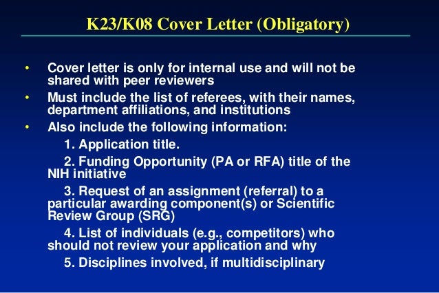 nih cover letter r01 Posts about nih r01 grant requirements written by jeanine jesberg menu home about contact us the researcher's tool kit nih biosketches, cover letters.