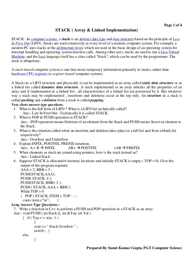 Page 1 of 4                             STACK ( Array & Linked Implementation)STACK : In computer science, a stack is an a...