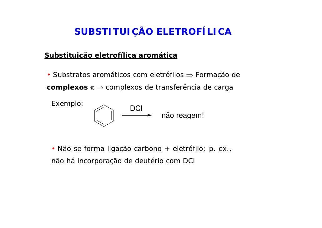 SUBSTITUIÇÃO ELETROFÍLICASubstituição eletrofílica aromática• Substratos aromáticos com eletrófilos ⇒ Formação decomplexos...