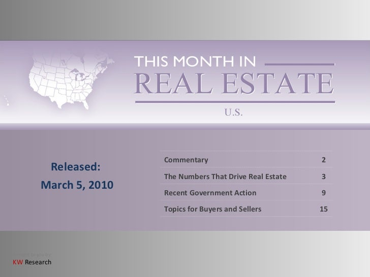 This  Month In  Real  Estate   March 2010