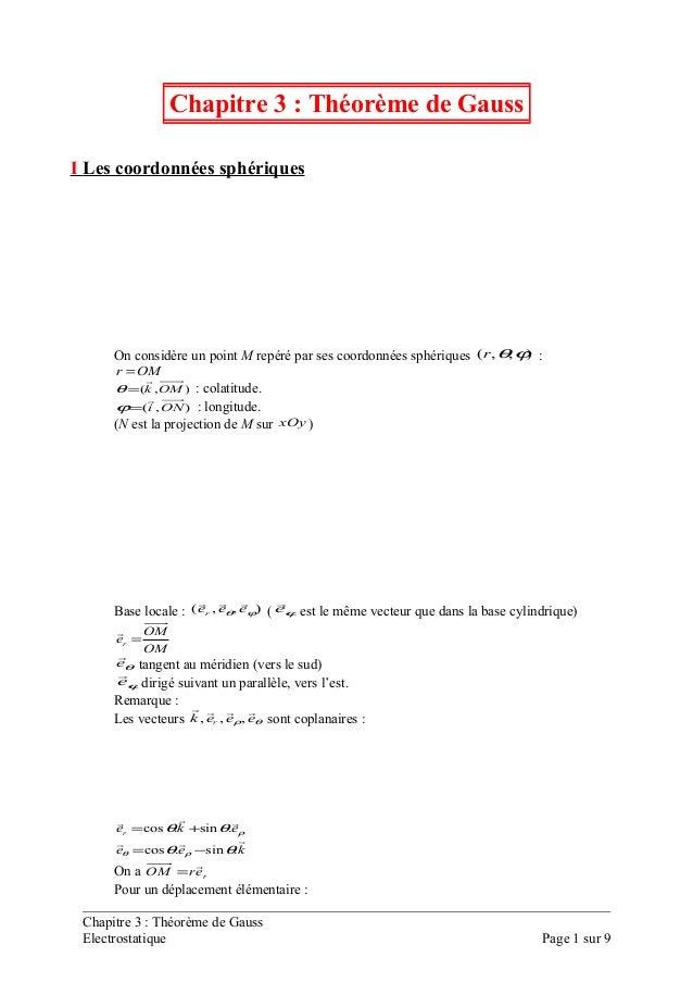 Chapitre 3 : Théorème de GaussI Les coordonnées sphériques      On considère un point M repéré par ses coordonnées sphériq...