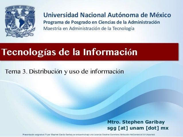 3. Distribución y uso de información
