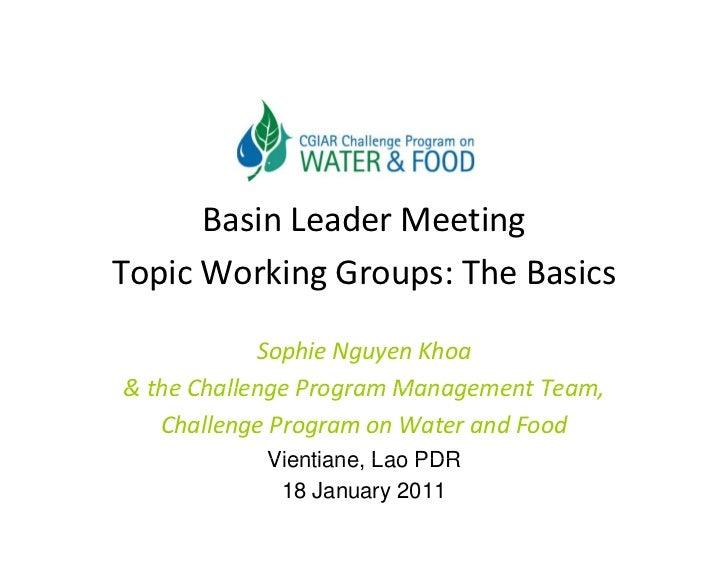 BasinLeaderMeetingTopicWorkingGroups:TheBasics            SophieNguyenKhoa&theChallengeProgramManagementTeam...