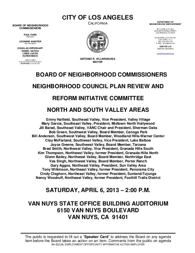 04-06-13 Valley Area NC Plan Review and Reform Initiative