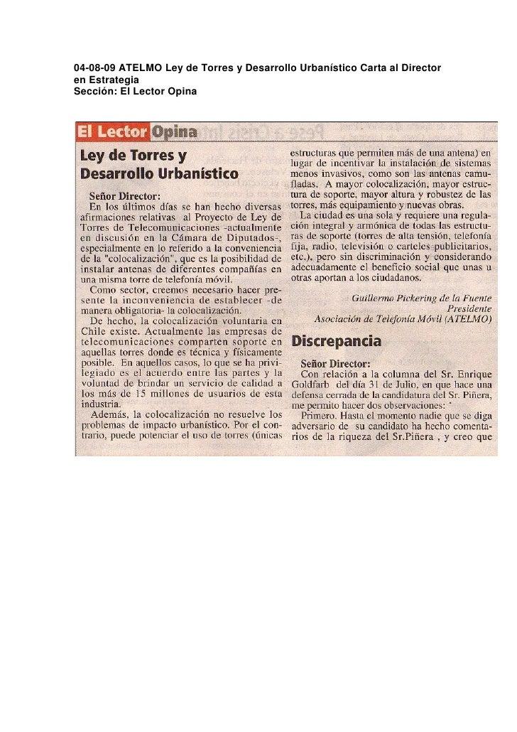 04-08-09 ATELMO Ley de Torres y Desarrollo Urbanístico Carta al Director en Estrategia Sección: El Lector Opina