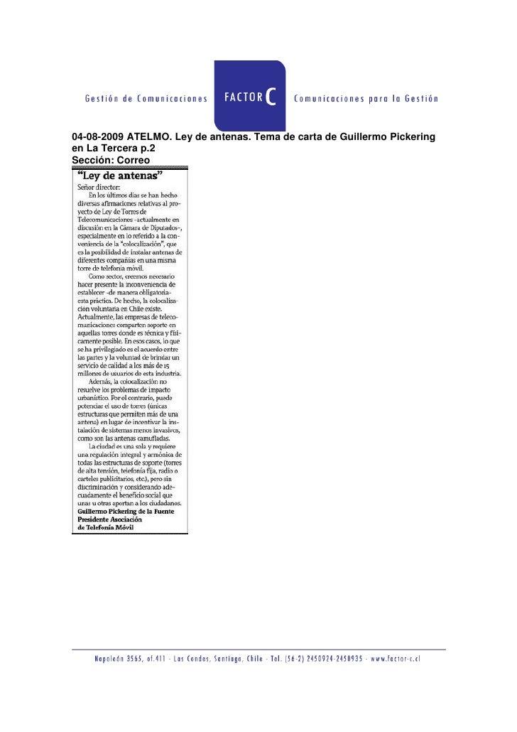 04-08-2009 ATELMO. Ley de antenas. Tema de carta de Guillermo Pickering en La Tercera p.2 Sección: Correo