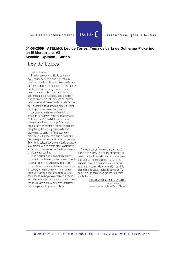 04 08 2009 Atelmo  Ley De Torres  Tema De Carta De Guillermo Pickering En El Mercurio P  A2
