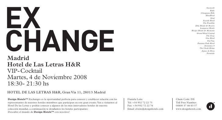 DESIGN HOTELS: EXCHANGE AT HOTEL DE LAS LETRAS H&R IN MADRID