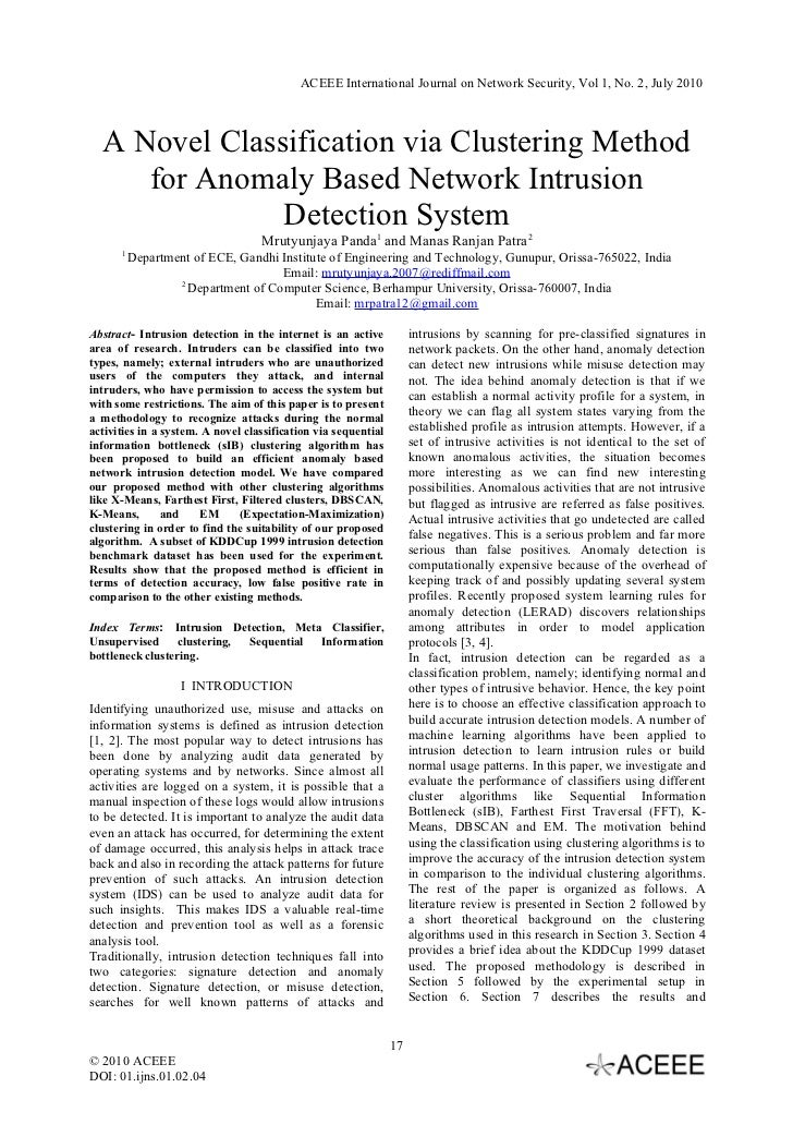 ACEEE International Journal on Network Security, Vol 1, No. 2, July 2010  A Novel Classification via Clustering Method    ...
