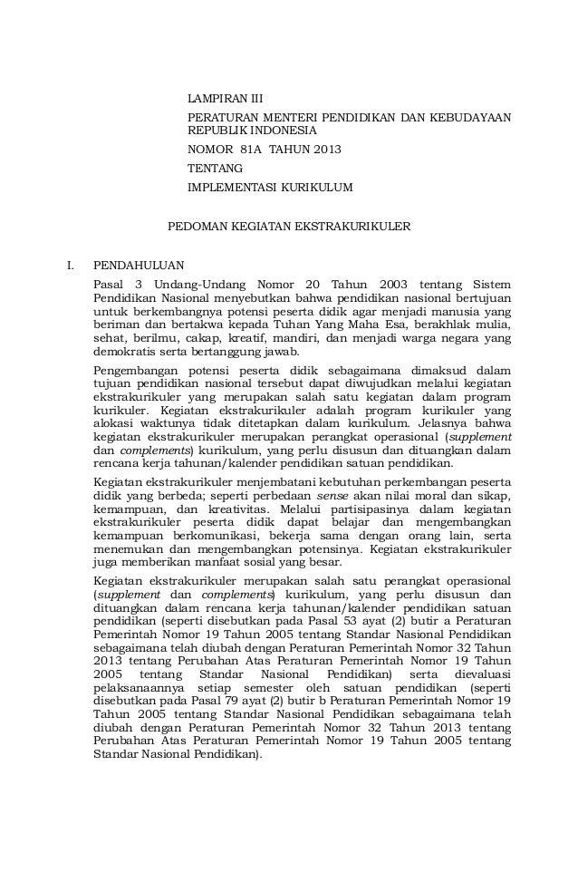 LAMPIRAN III PERATURAN MENTERI PENDIDIKAN DAN KEBUDAYAAN REPUBLIK INDONESIA NOMOR 81A TAHUN 2013 TENTANG IMPLEMENTASI KURI...