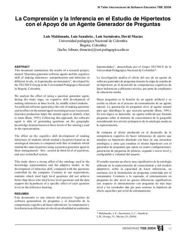 19 IX Taller Internacional de Software Educativo TISE 2004 MEMORIAS TISE 2004 ABSTRACT This document summarizes the result...