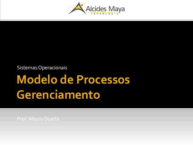 Modelo de Processos Gerenciamento Sistemas Operacionais Prof. Mauro Duarte
