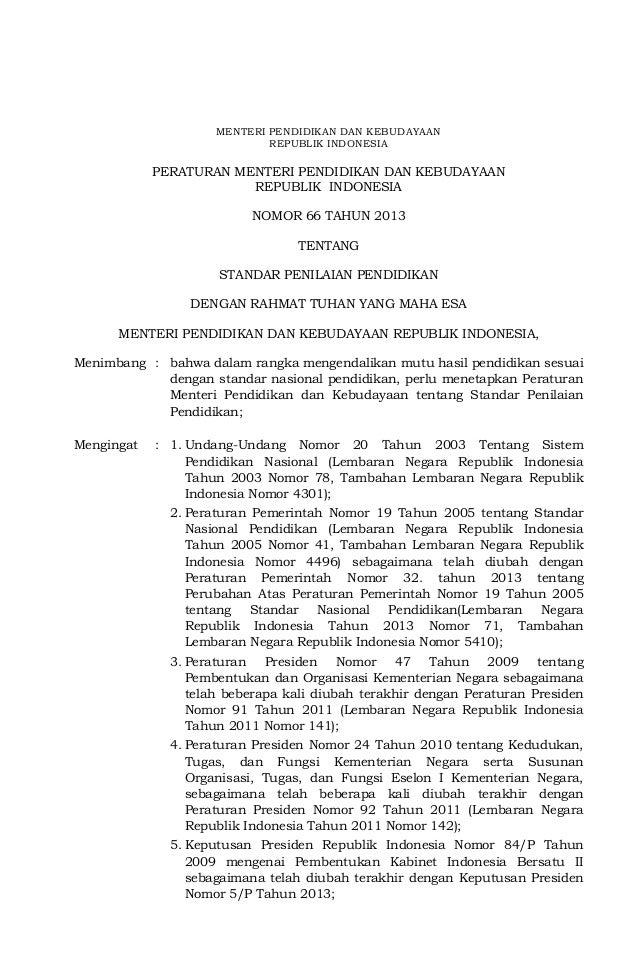 Permendikbud Nomor 66 tahun 2013 tentang Standar Penilaian
