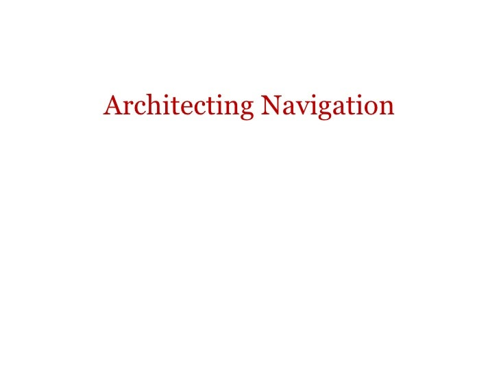 Architecting Navigation