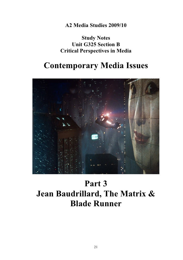 A2 Media Studies 2009/10                  Study Notes            Unit G325 Section B       Critical Perspectives in Media ...