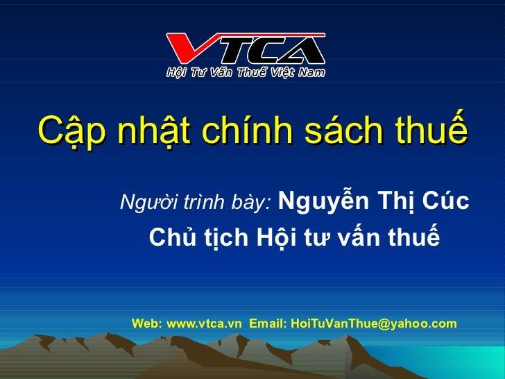 VTCA Cap nhat Chinh sach Thue