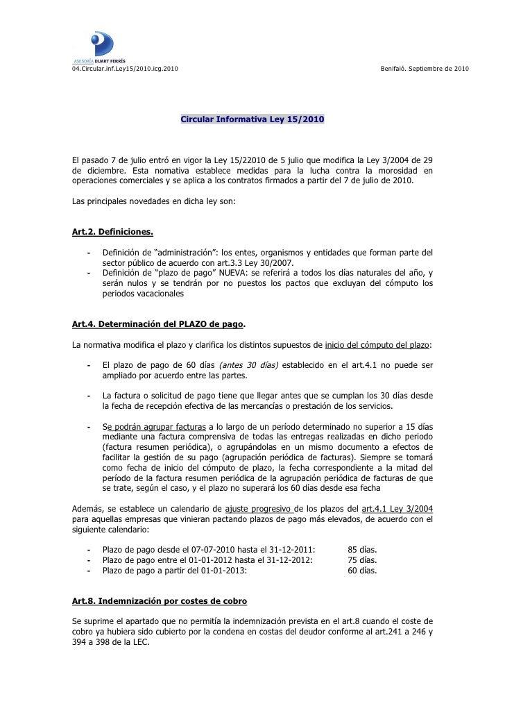 Circular informativa Ley 15/2010 morosidad