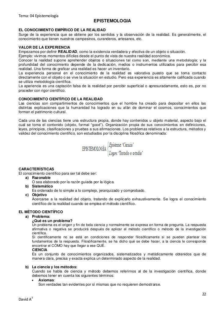 Tema: 04 Epistemología                                              EPISTEMOLOGIAEL CONOCIMIENTO EMPÍRICO DE LA REALIDADSu...