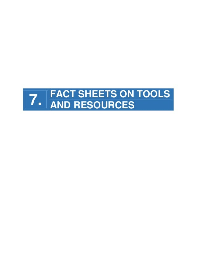 7.  FACT SHEETS ON TOOLS AND RESOURCES