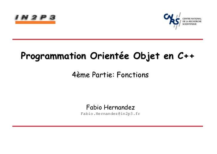Partie 4: Fonctions - Programmation orientée objet en C++