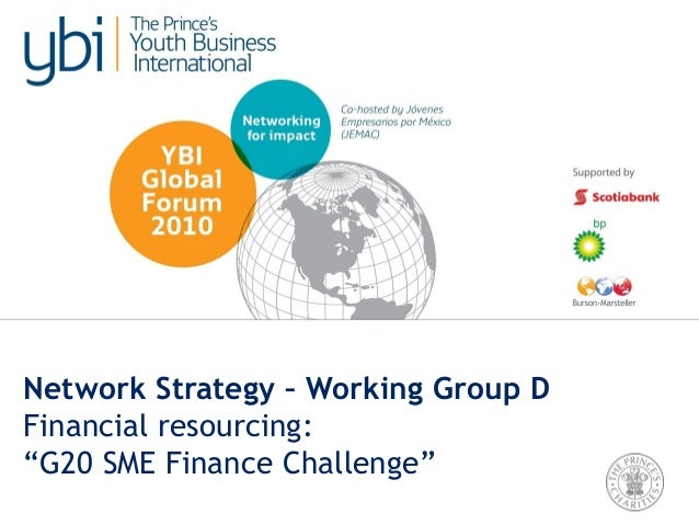"""Network Strategy – Working Group D Financial resourcing: """"G20 SME Finance Challenge"""""""