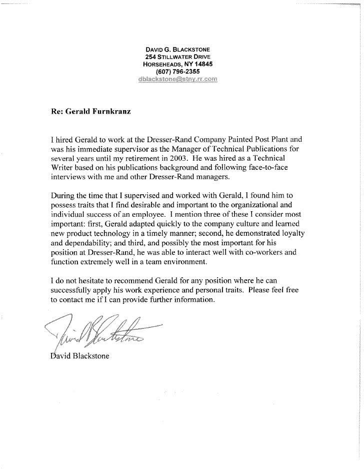 Gerald J. Furnkranz - Letters of Recomendations