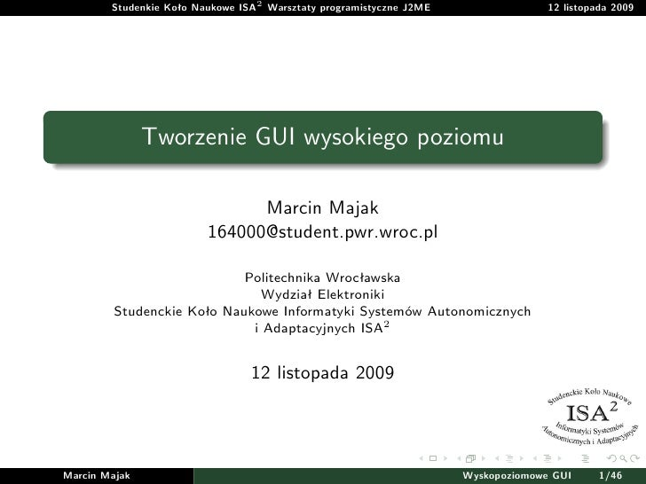 03 Tworzenie GUI wysokiego poziomu w j2me