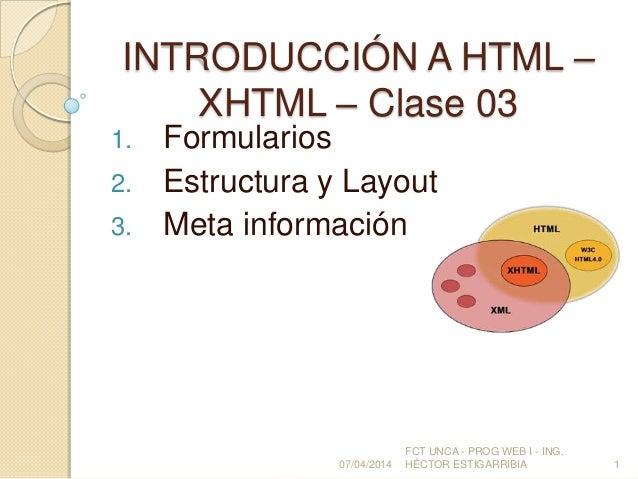 INTRODUCCIÓN A HTML – XHTML – Clase 03
