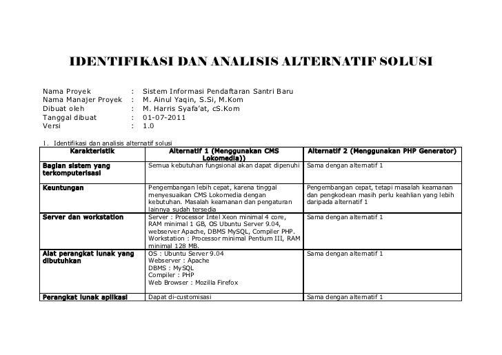 IDENTIFIKASI DAN ANALISIS ALTERNATIF SOLUSINama Proyek                    :   Sistem Informasi Pendaftaran Santri BaruNama...