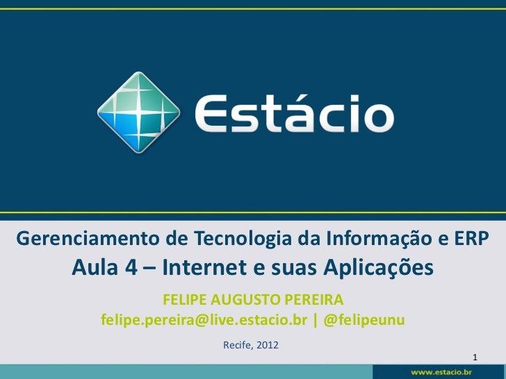 Gerenciamento de Tecnologia da Informação e ERP     Aula 4 – Internet e suas Aplicações                 FELIPE AUGUSTO PER...
