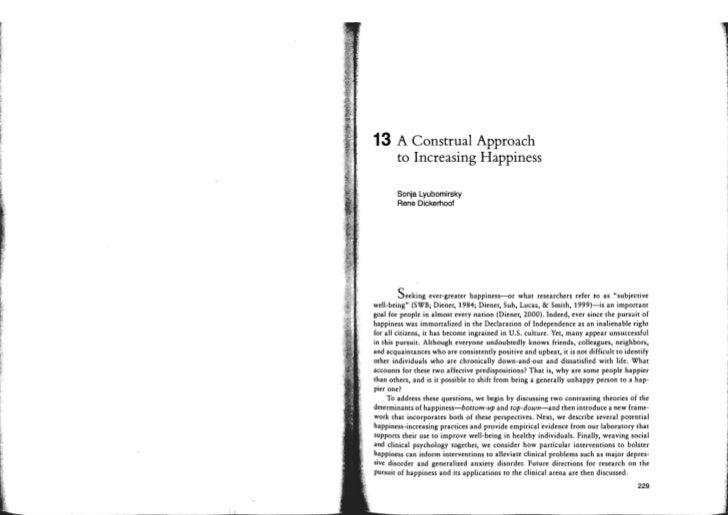 13     A Construal Approach       to Increasing Happiness       Sonja Lyubomirsky        Rene Dickerhoof          Seeking ...
