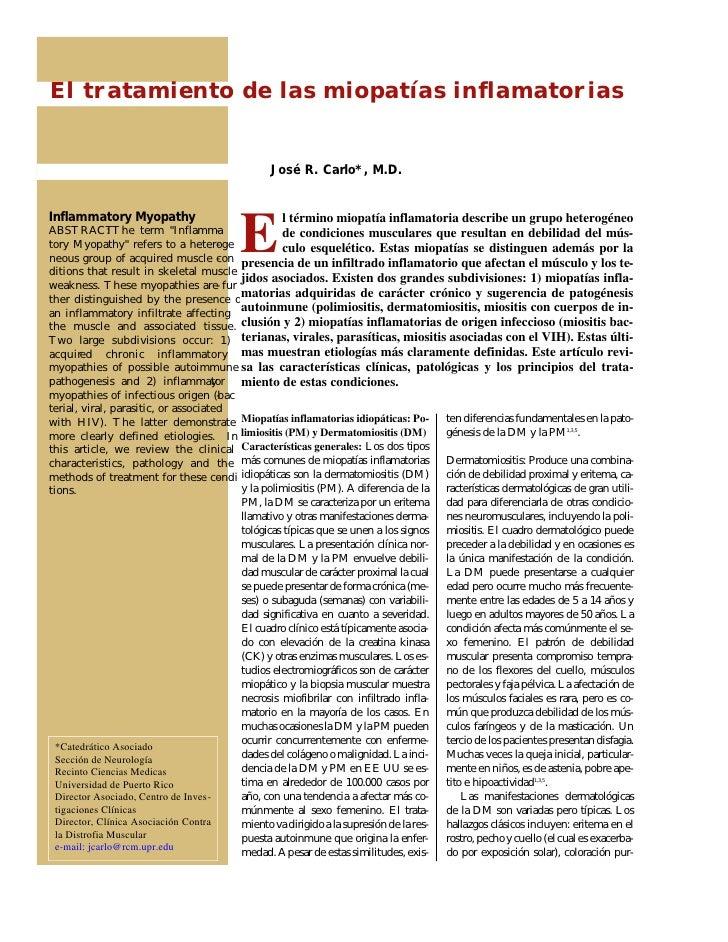El tratamiento de las miopatías inflamatorias                                                José R. Carlo*, M.D.Inflammat...