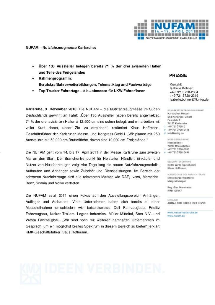 NUFAM – Nutzfahrzeugmesse Karlsruhe:    •   Über 130 Aussteller belegen bereits 71 % der drei avisierten Hallen        und...