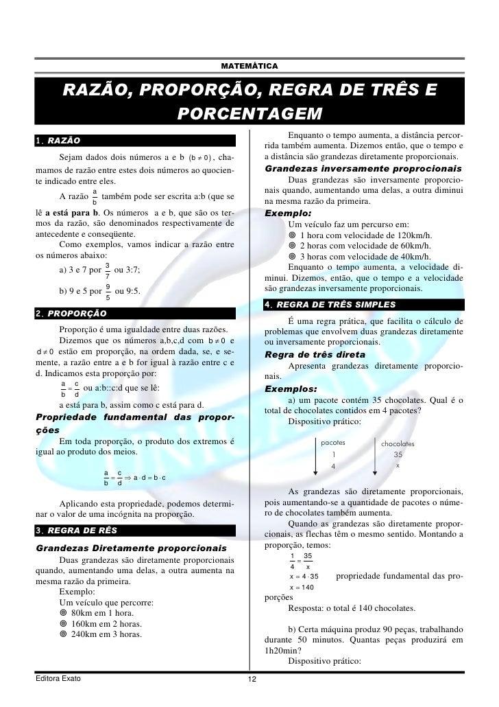 MATEMÁTICA          RAZÃO, PROPORÇÃO, REGRA DE TRÊS E                  PORCENTAGEM                                        ...