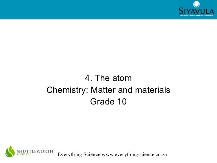 4. The atom Chemistry: Matter and materials Grade 10