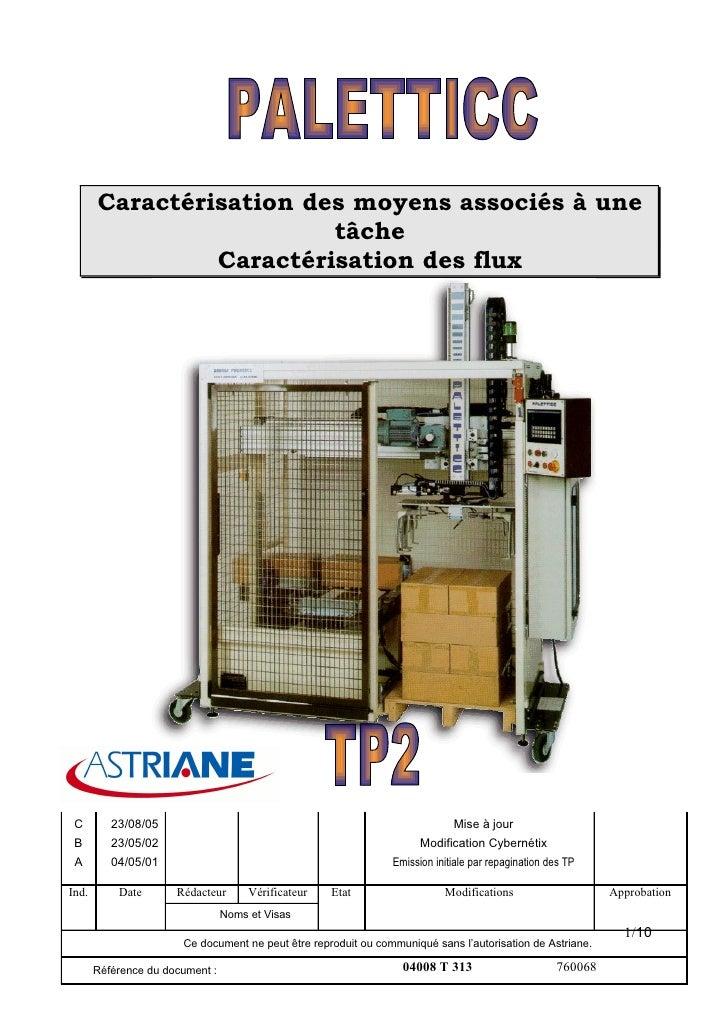 Caractérisation des moyens associés à une                          tâche                 Caractérisation des flux      C  ...