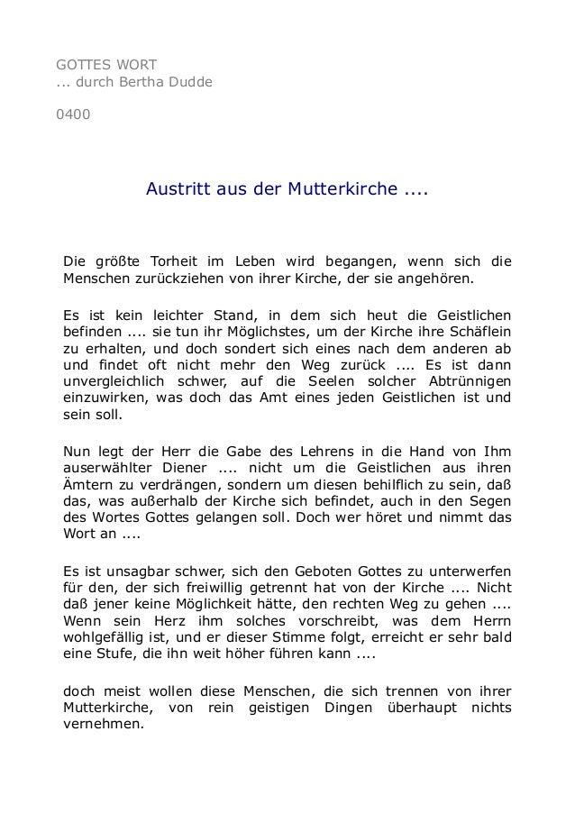 GOTTES WORT ... durch Bertha Dudde 0400 Austritt aus der Mutterkirche .... Die größte Torheit im Leben wird begangen, wenn...