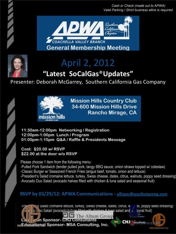 APWA SoCalGas Updates Luncheon 04-02-12