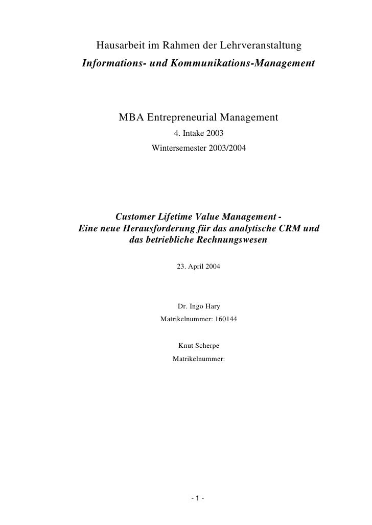 Hausarbeit im Rahmen der Lehrveranstaltung Informations- und Kommunikations-Management            MBA Entrepreneurial Mana...
