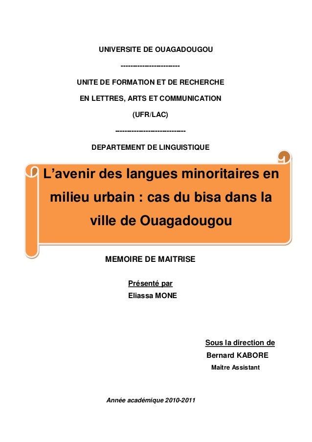 UNIVERSITE DE OUAGADOUGOU ------------------------- UNITE DE FORMATION ET DE RECHERCHE EN LETTRES, ARTS ET COMMUNICATION (...
