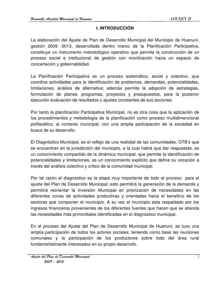 Honorable Alcaldía Municipal de Huanuni                                 APEMIN II                                         ...