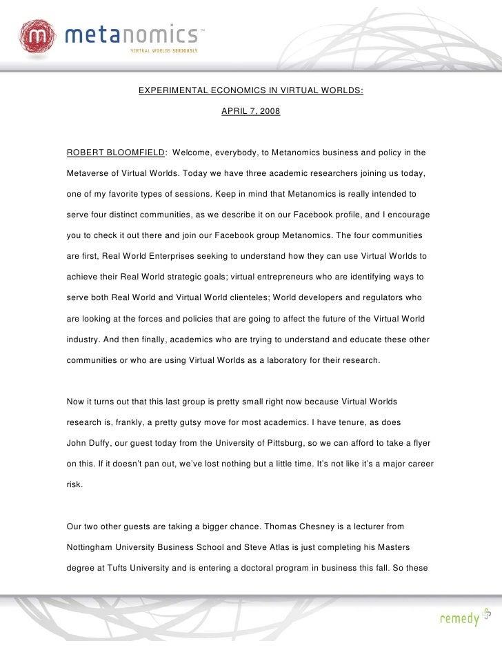 040708 Experimental Ecomonics Metanomics Transcript