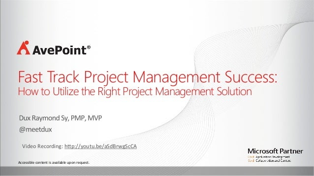 Accessible	   content	   is	   available	   upon	   request.	   	    Fast Track Project Management Success: How to Utilize...