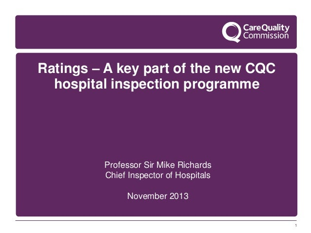 Ratings – A key part of the new CQC hospital inspection programme  Professor Sir Mike Richards Chief Inspector of Hospital...